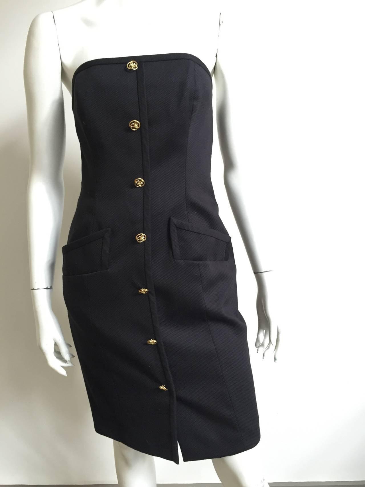 Bill Blass 90s Black Strapless Dress With Pockets Size 4. 9