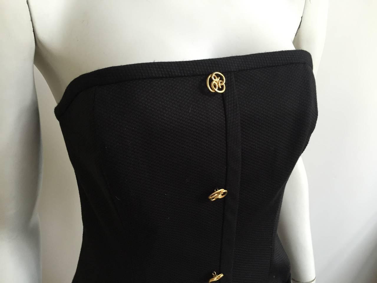 Bill Blass 90s Black Strapless Dress With Pockets Size 4. 5