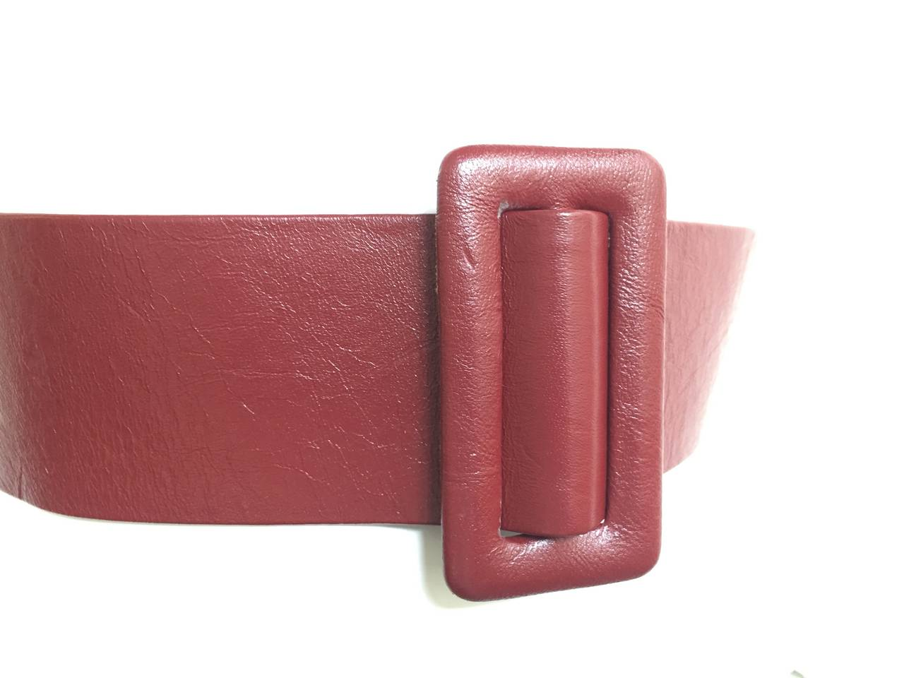 Brown Geoffrey Beene Wide Leather Belt, 1980s  For Sale