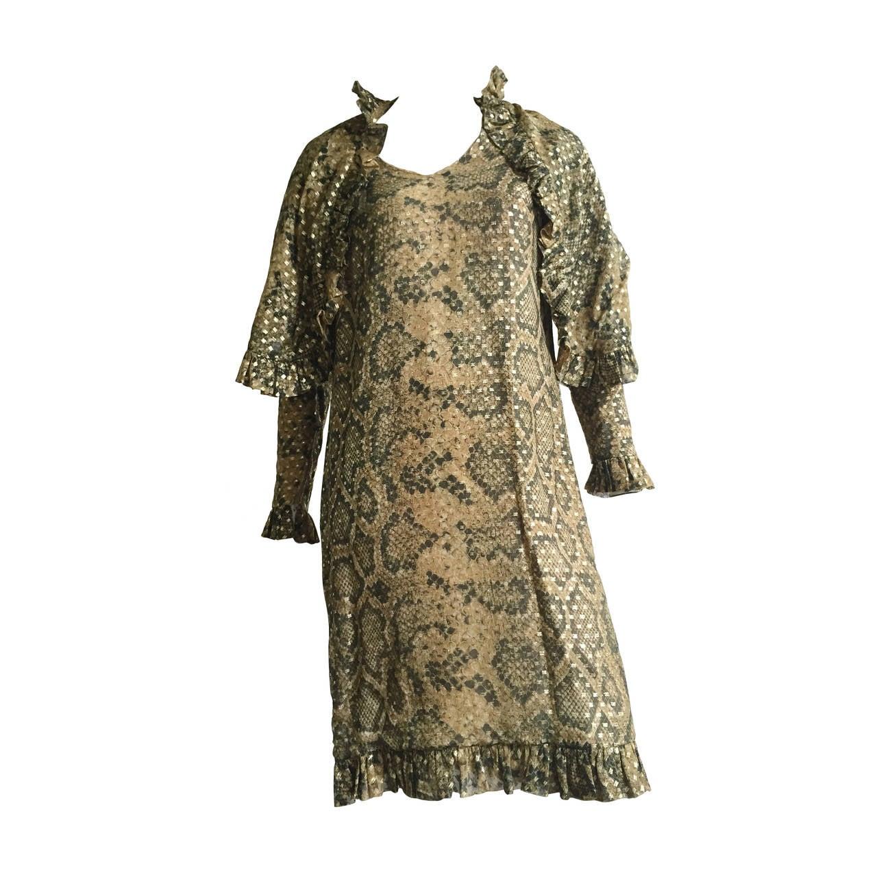 Bill Blass 70s Silk Dress Size 12.