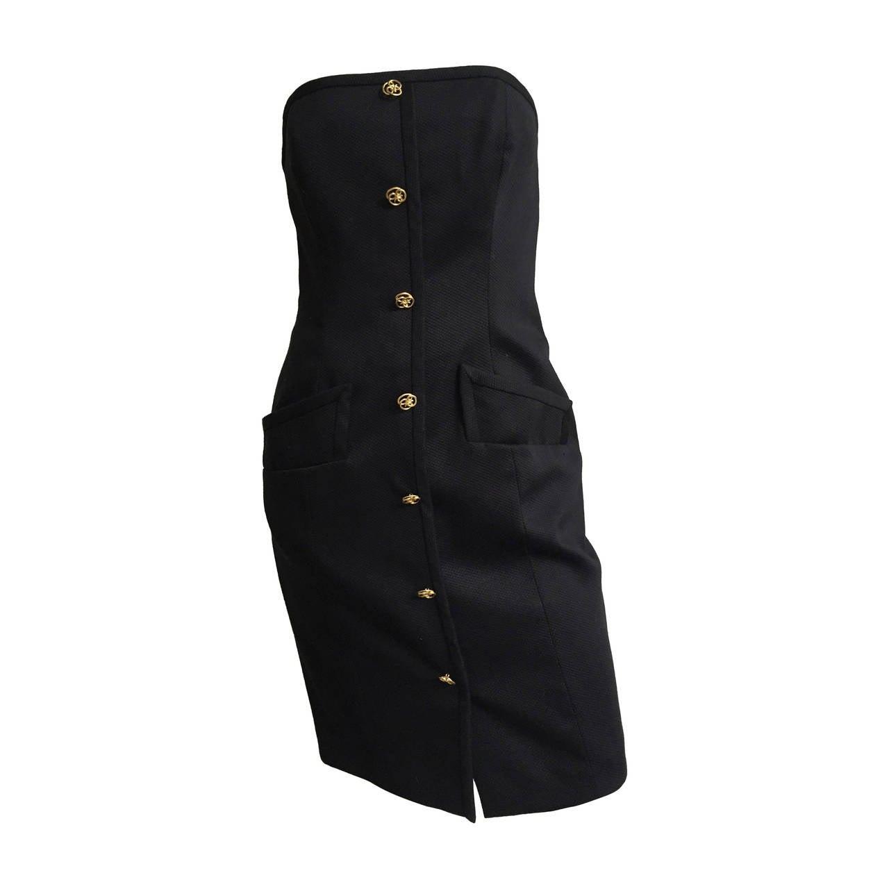 Bill Blass 90s Black Strapless Dress With Pockets Size 4. 1