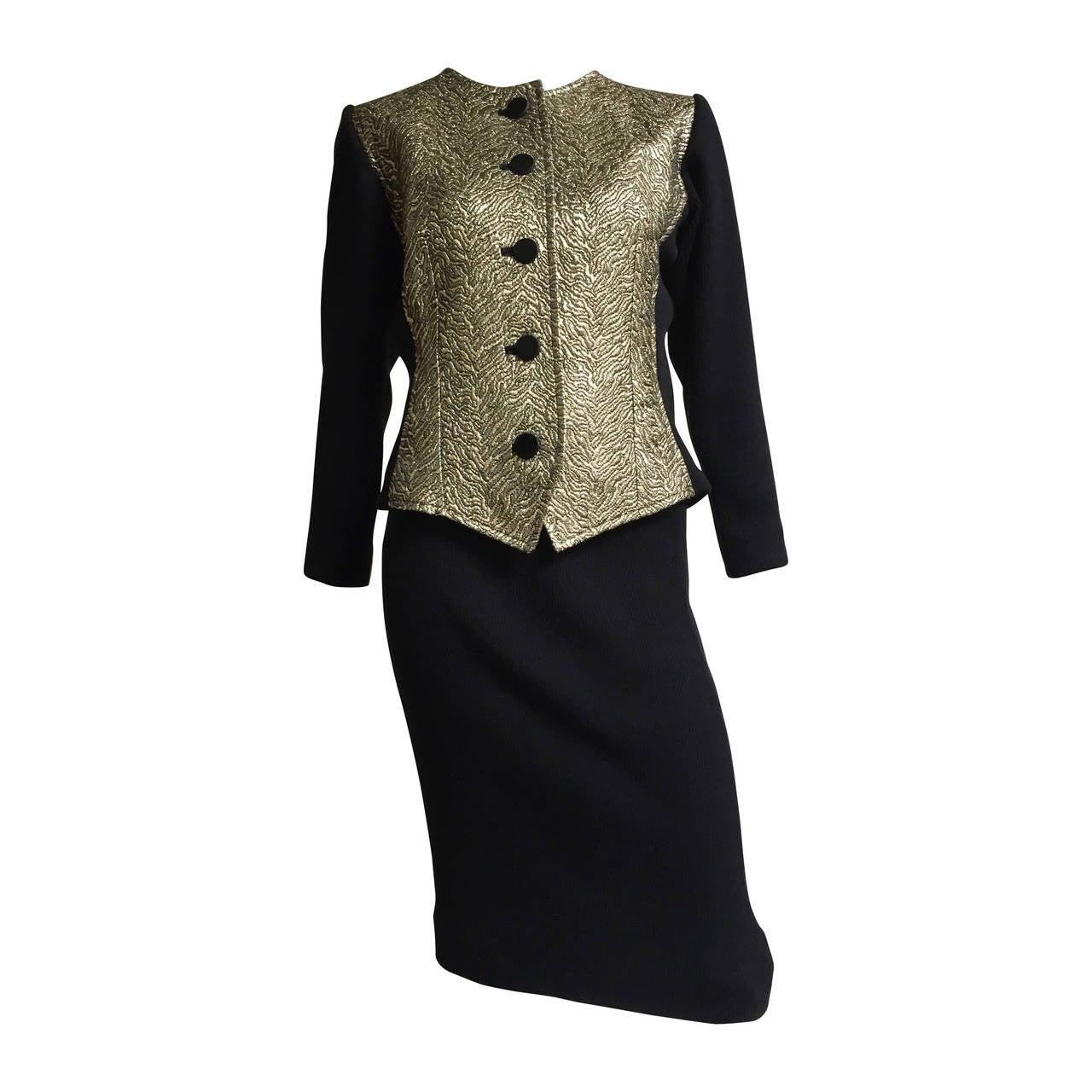 Saint Laurent Rive Gauche Gold Jacquard Knit Suit Size 6 / 8.