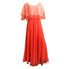 Mollie Parnis 70s Silk Chiffon Gown Size 6.