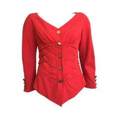 Jacques Molko 80s red woven wool jacket size 6.