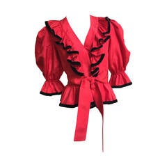 Albert Capraro Red Silk Taffeta and Velvet Trim Blouse Size 4