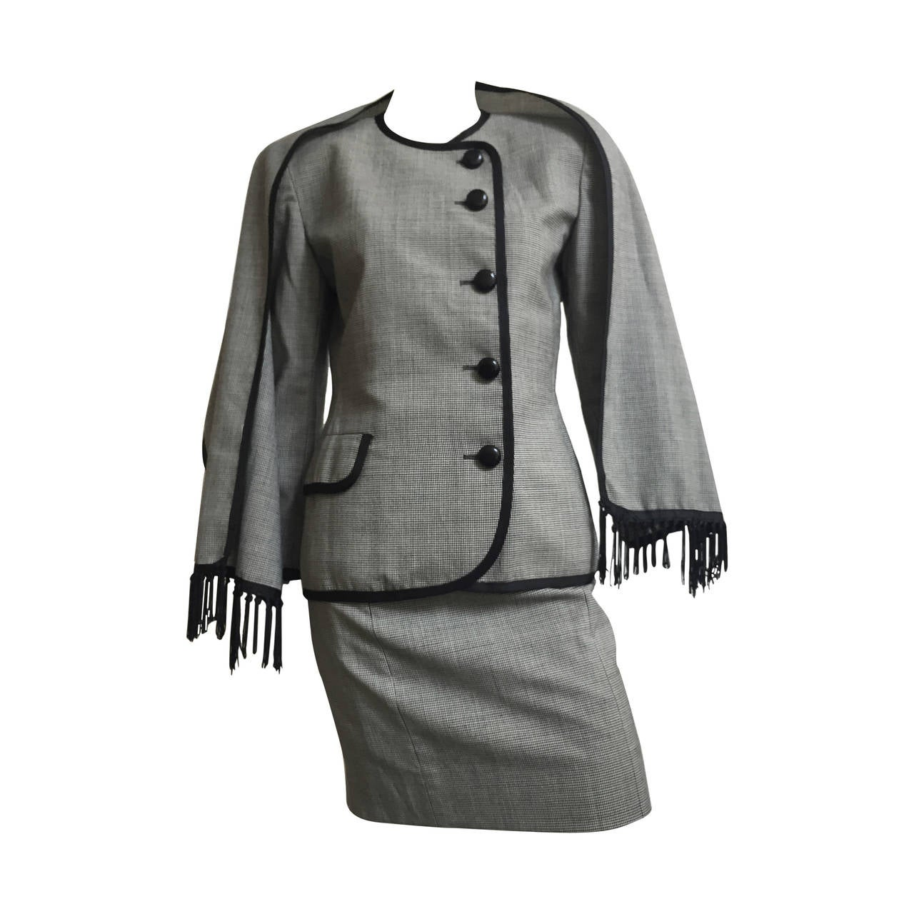 Christian Dior Houndstooth Skirt Suit with Scarf