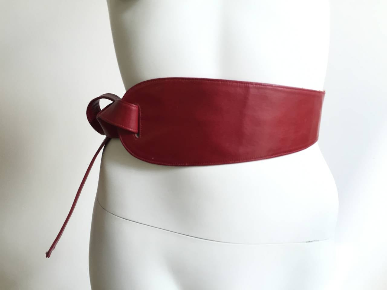 Alexis Kirk 80s red leather tie belt. 7