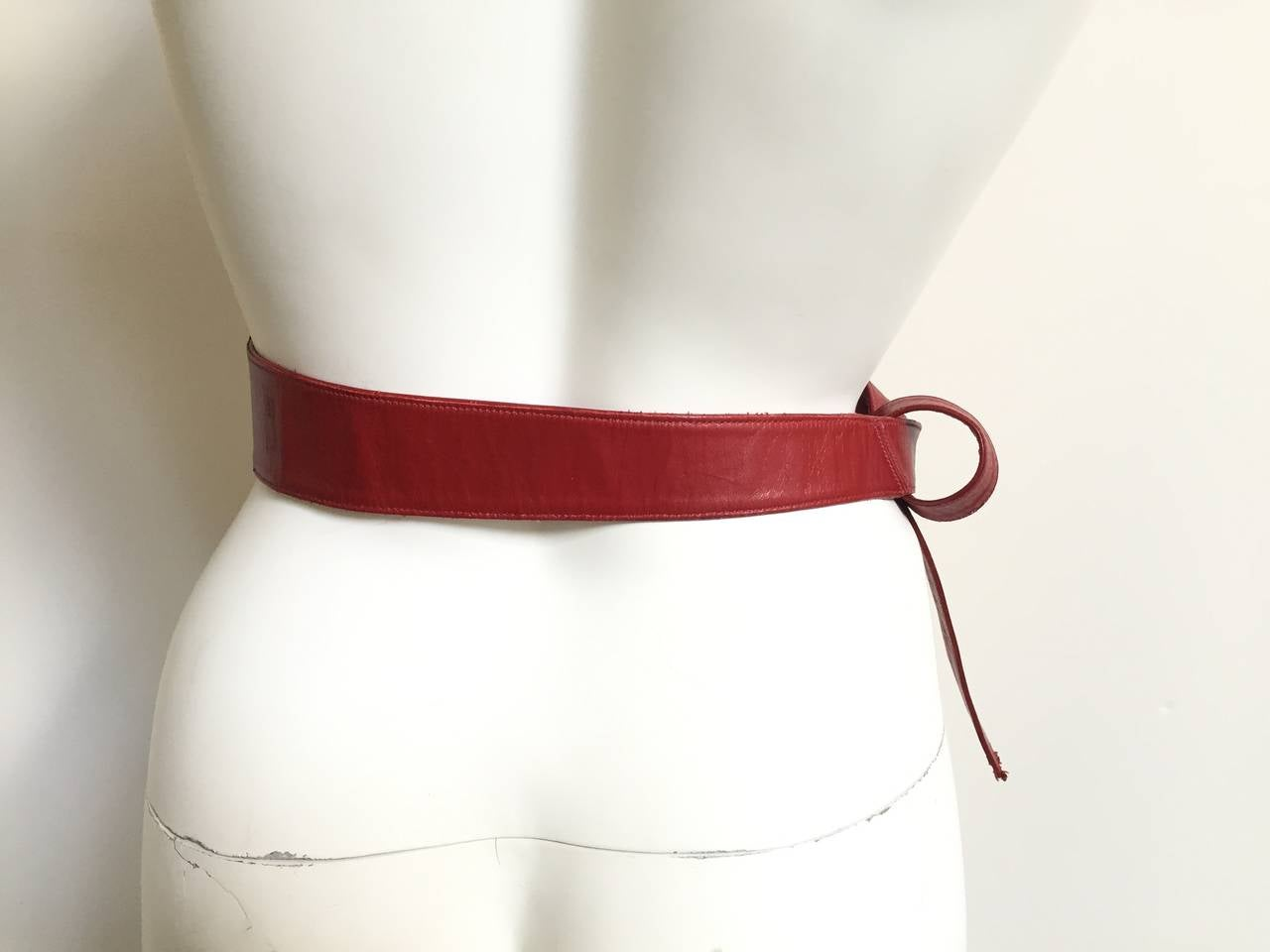 Alexis Kirk 80s red leather tie belt. 3
