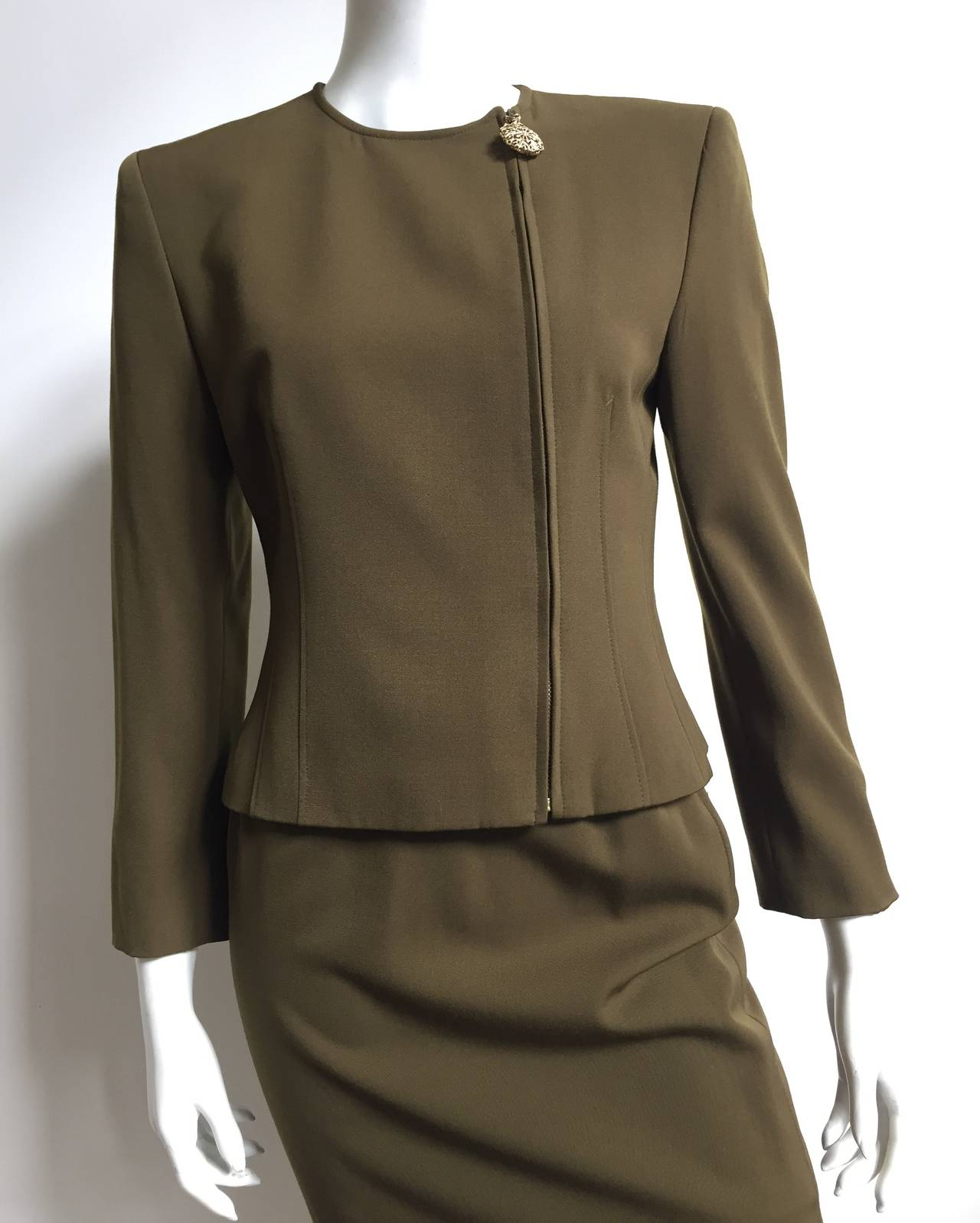 Genny by Versace Olive Skirt Suit Size 4  2