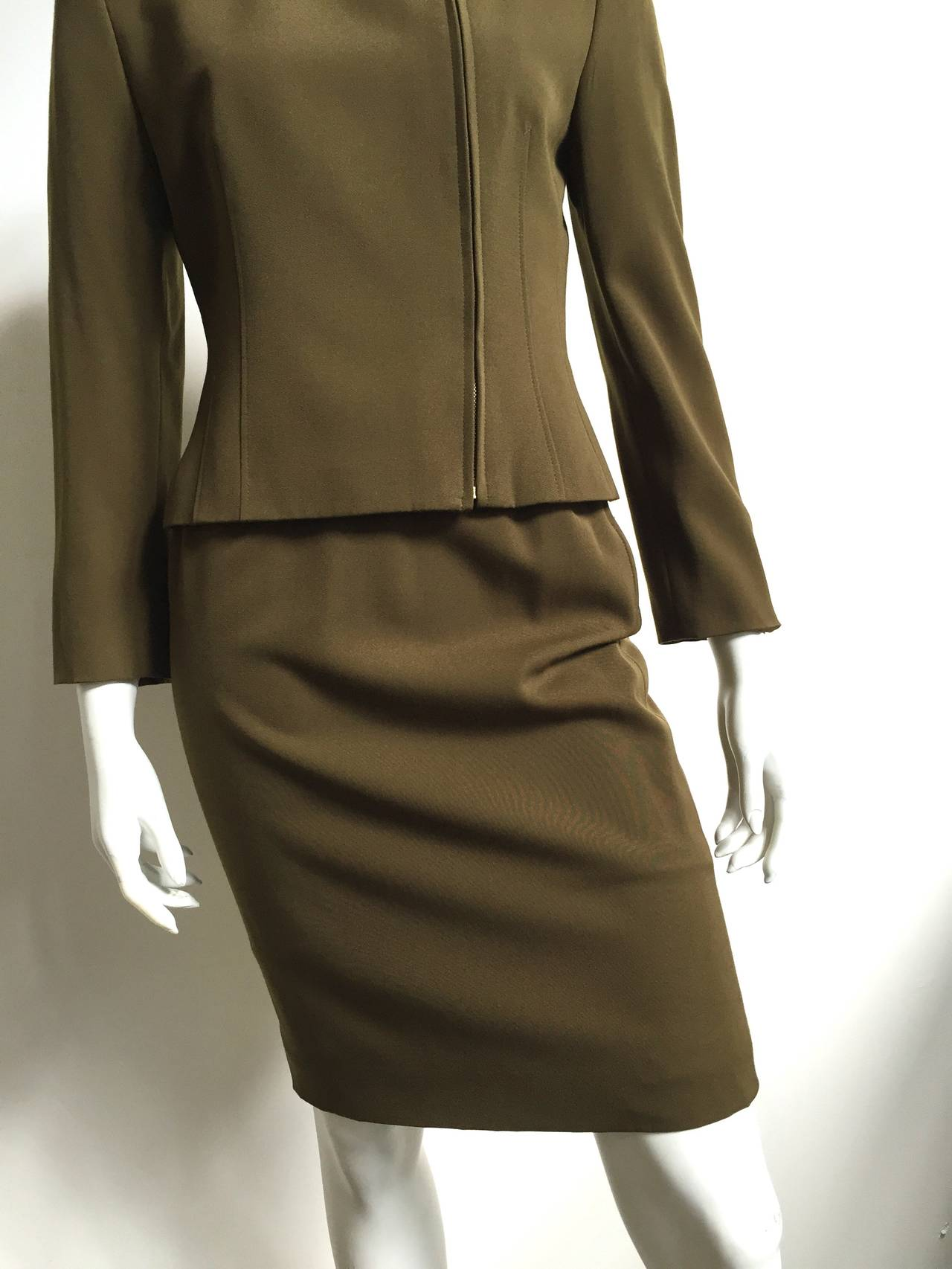 Genny by Versace Olive Skirt Suit Size 4  3
