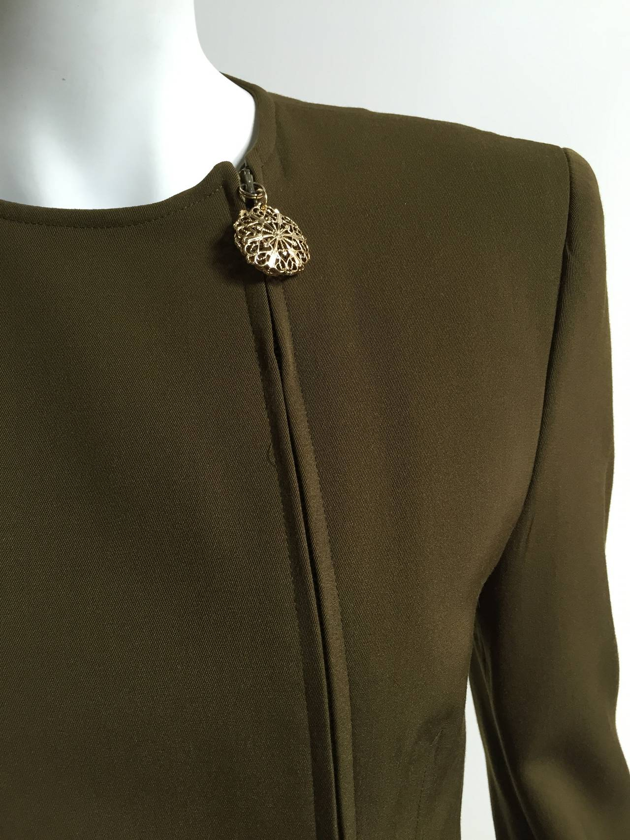 Genny by Versace Olive Skirt Suit Size 4  4