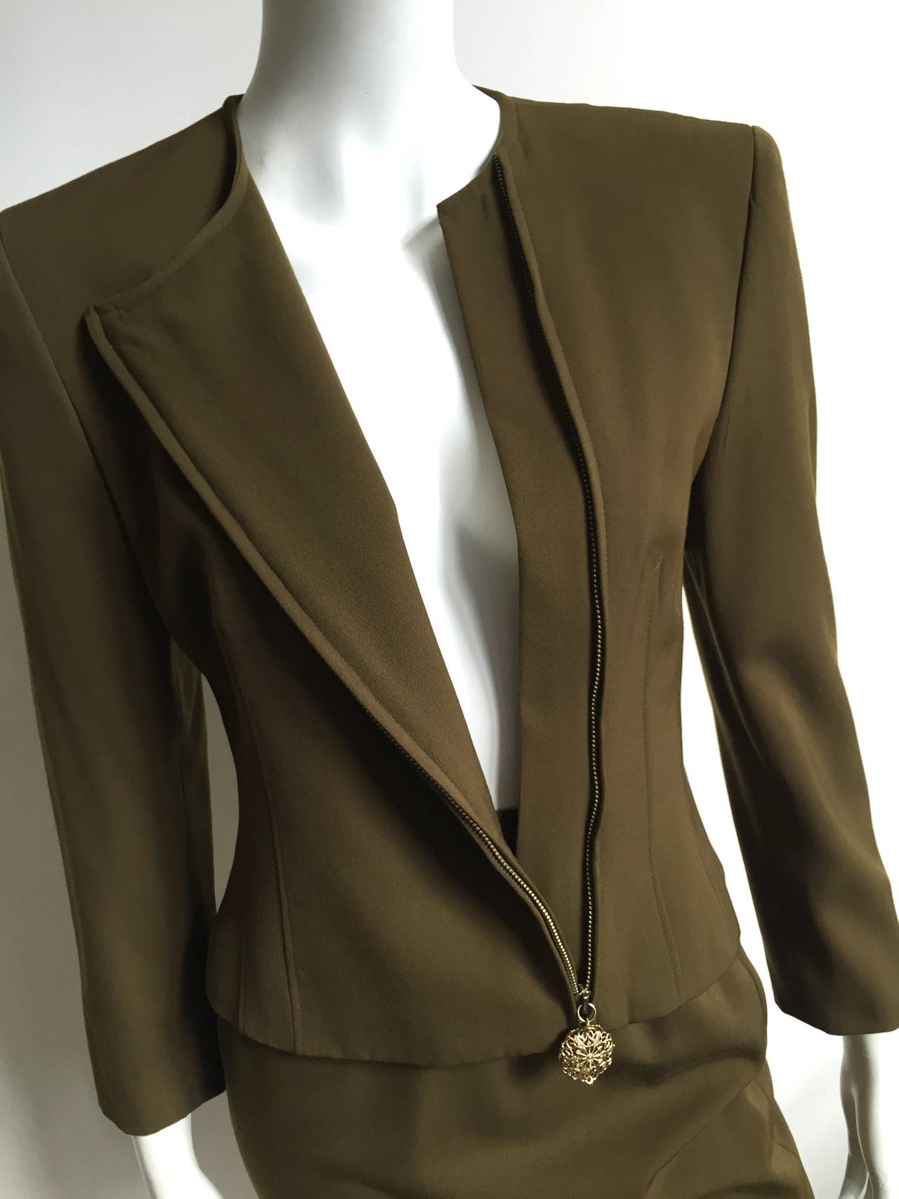 Genny by Versace Olive Skirt Suit Size 4  5