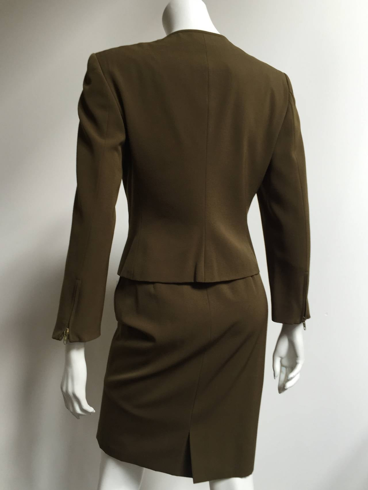 Genny by Versace Olive Skirt Suit Size 4  6