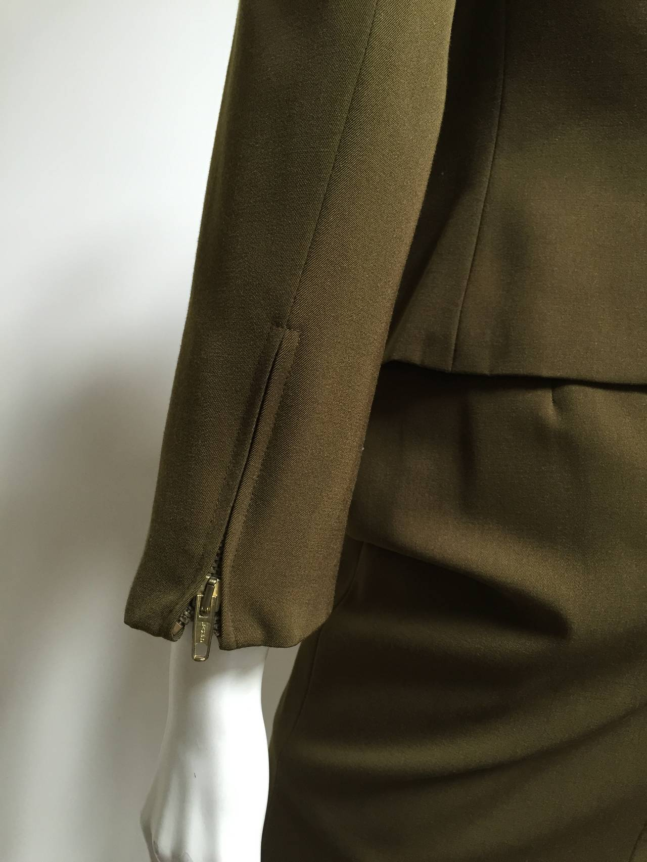 Genny by Versace Olive Skirt Suit Size 4  7
