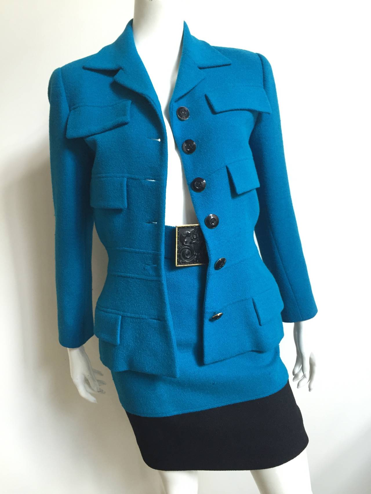 Blue Karl Lagerfeld 80s Wool Skirt Suit Size 4. For Sale
