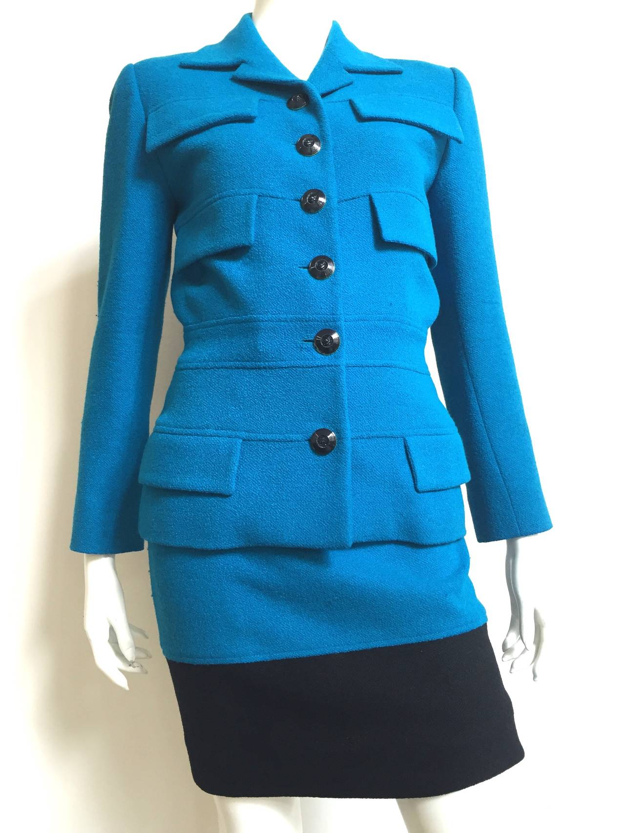Karl Lagerfeld 80s Wool Skirt Suit Size 4. For Sale 5