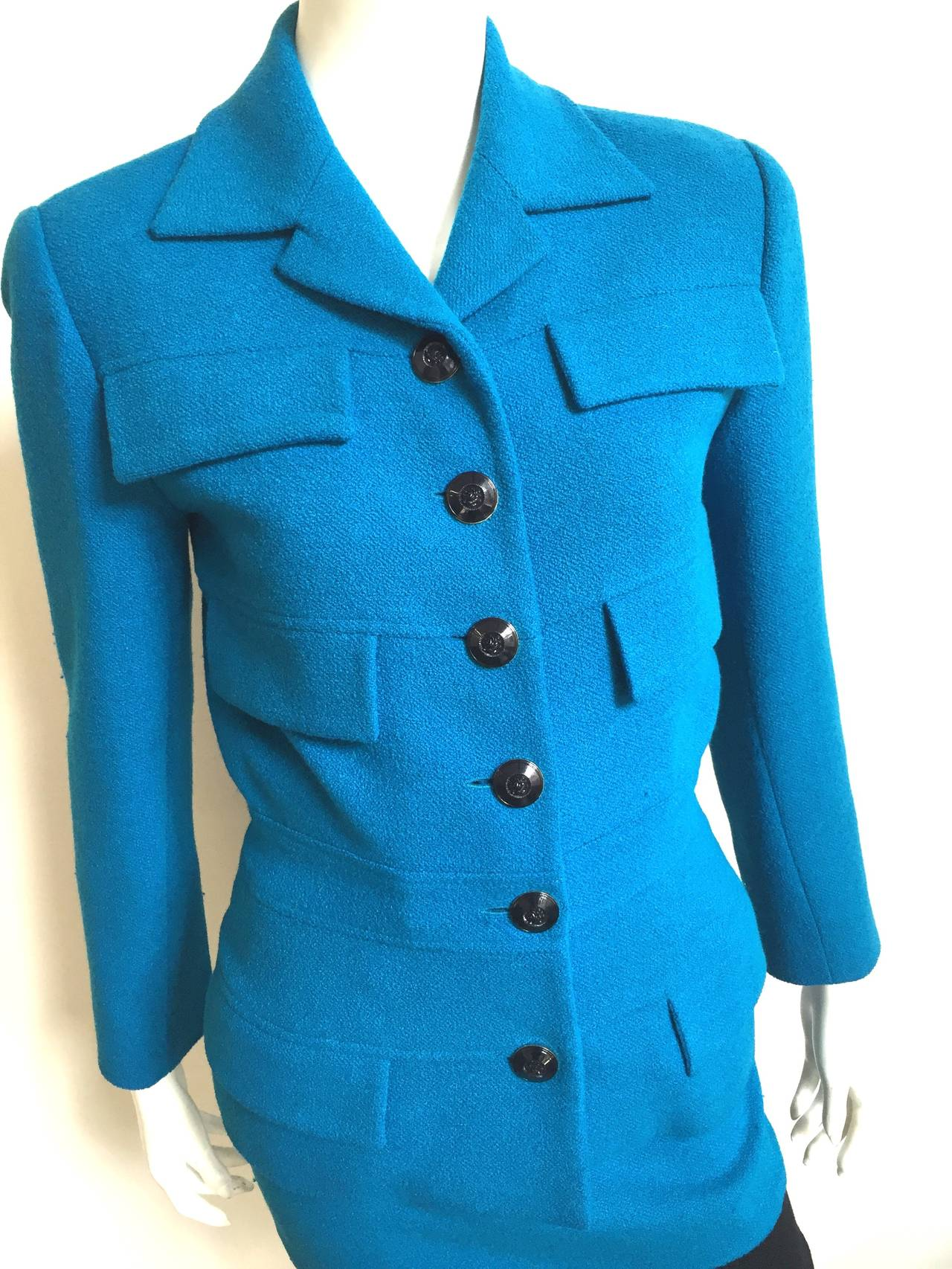 Karl Lagerfeld 1980s wool 3 piece set - jacket - skirt - belt is a French size 36 but fits like a modern USA size 4.   Please see & use the measurements below to measure your bust, waist & hips so that you know this suit will fit the way Karl wants