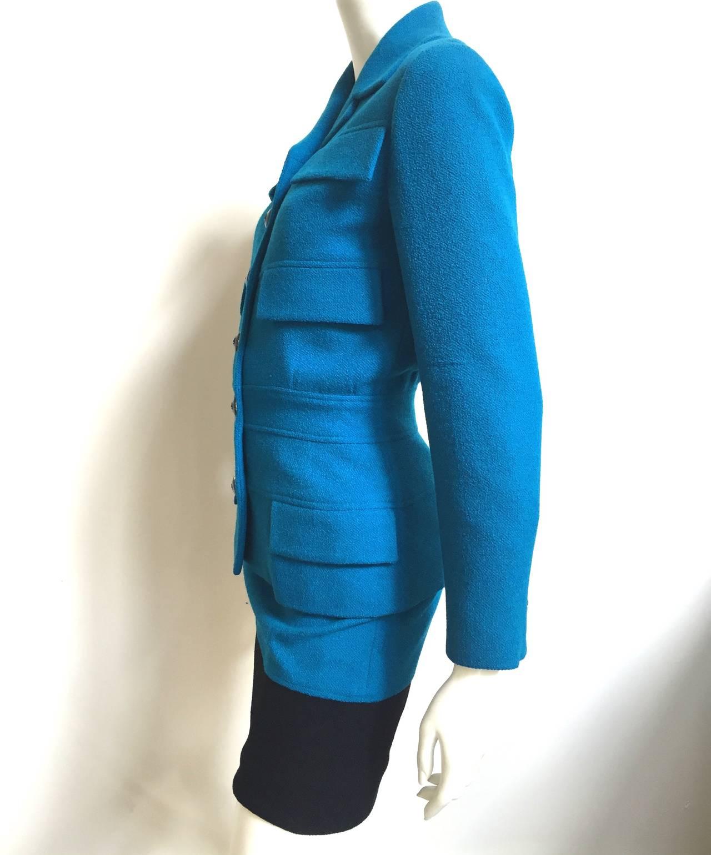 Women's Karl Lagerfeld 80s Wool Skirt Suit Size 4. For Sale