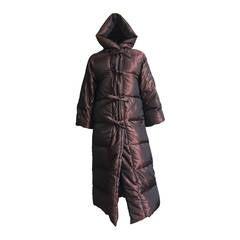 Bill Blass 80s metallic down coat with hood size 6.