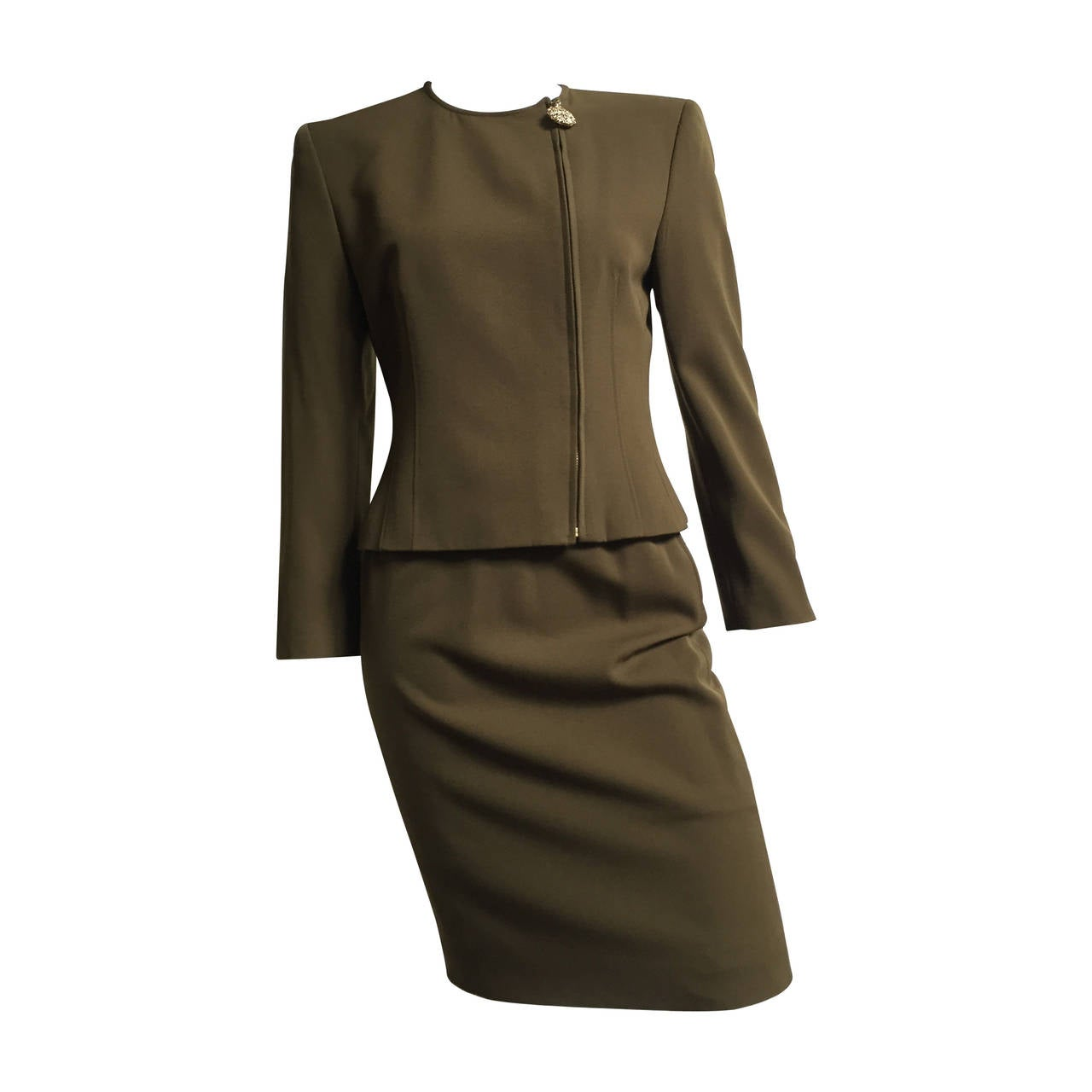 Genny by Versace Olive Skirt Suit Size 4  1