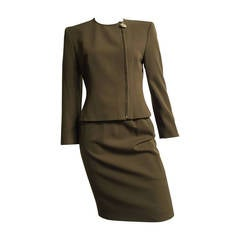 Genny by Versace Olive Skirt Suit Size 4