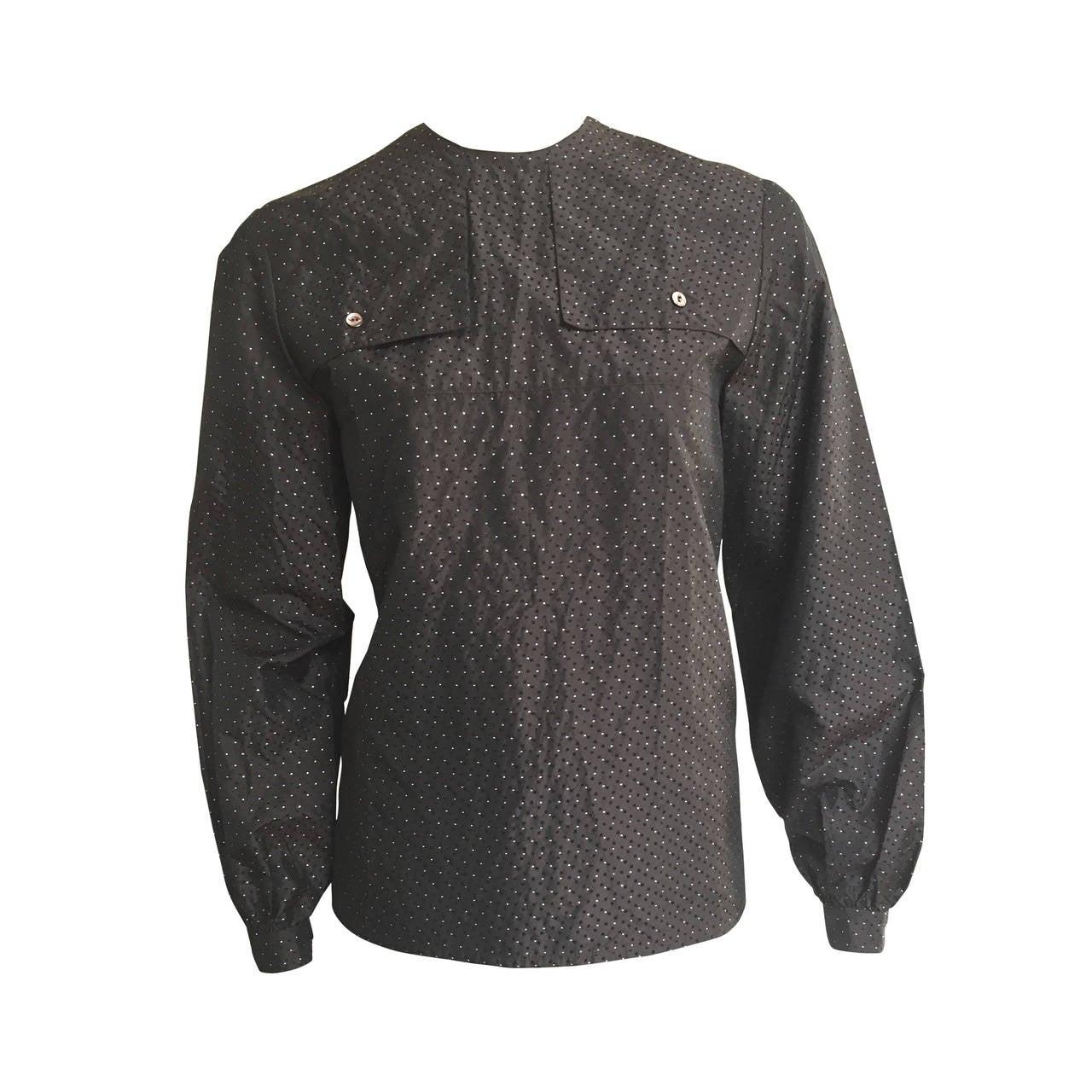 Ferragamo Brown Silk Blouse Size 6, 1980s