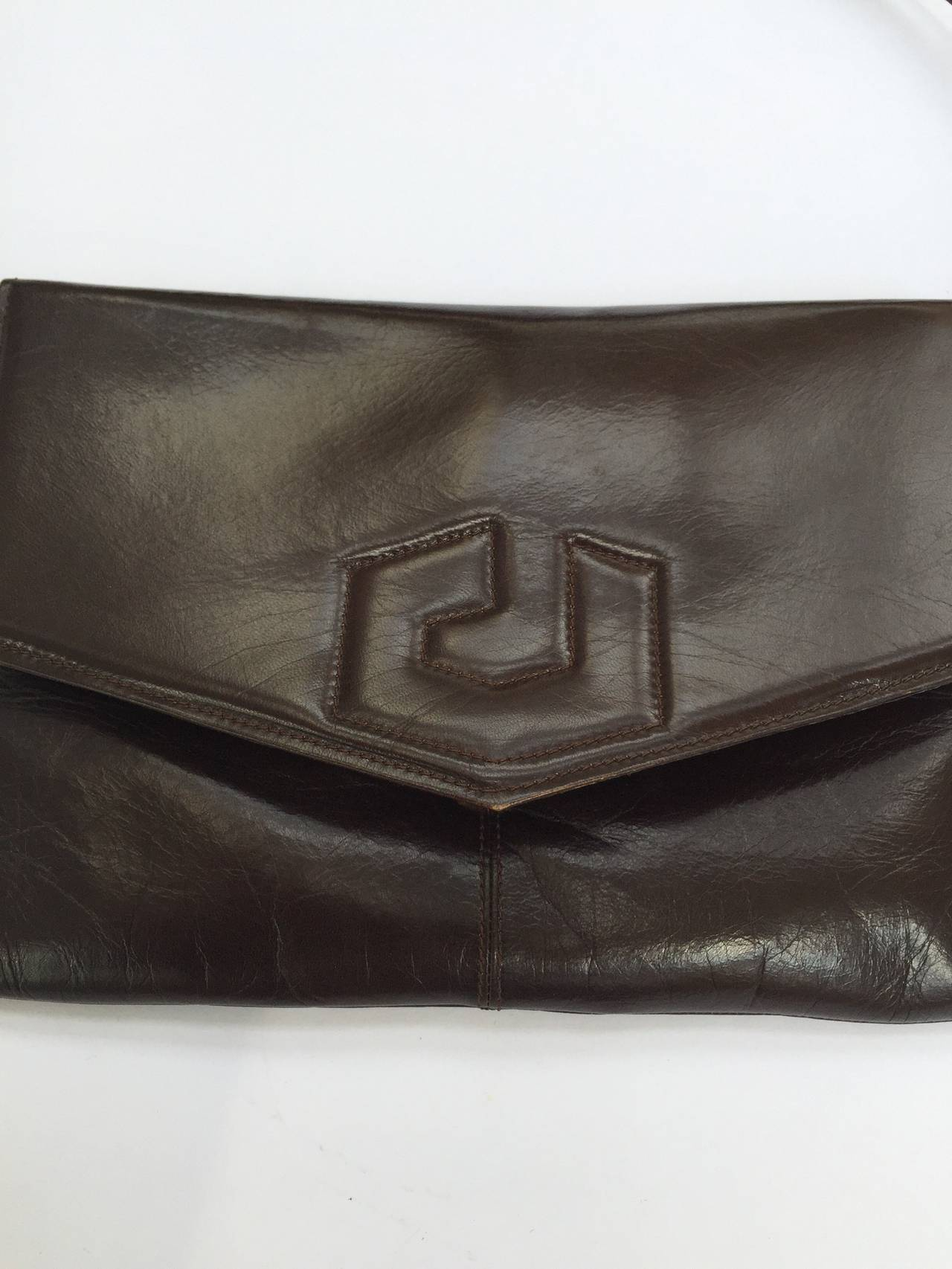 Black Charles Jourdan 70s brown leather shoulder / clutch handbag. For Sale