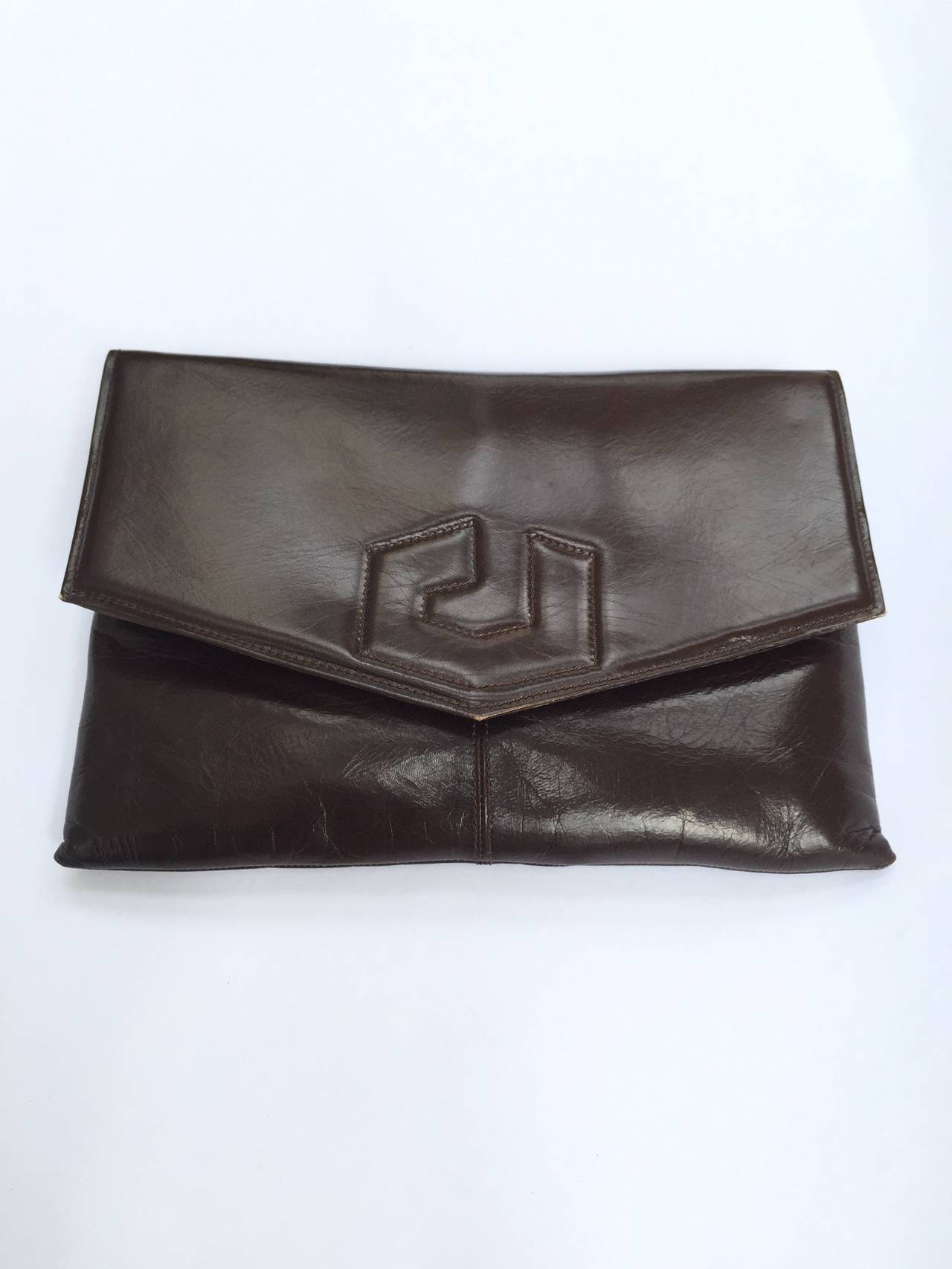 Charles Jourdan 70s brown leather shoulder / clutch handbag. For Sale 2