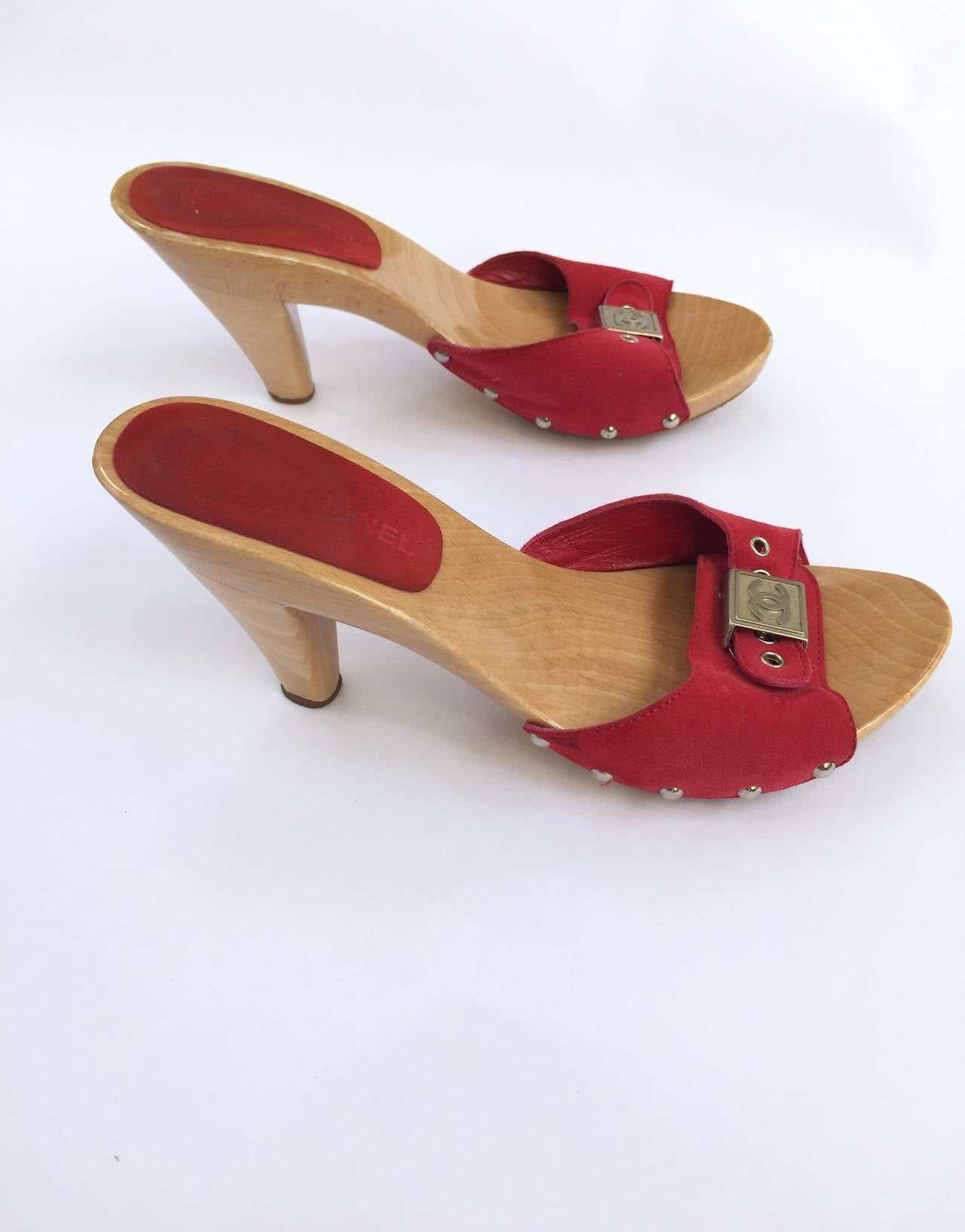 Red Wooden Platform Shoes