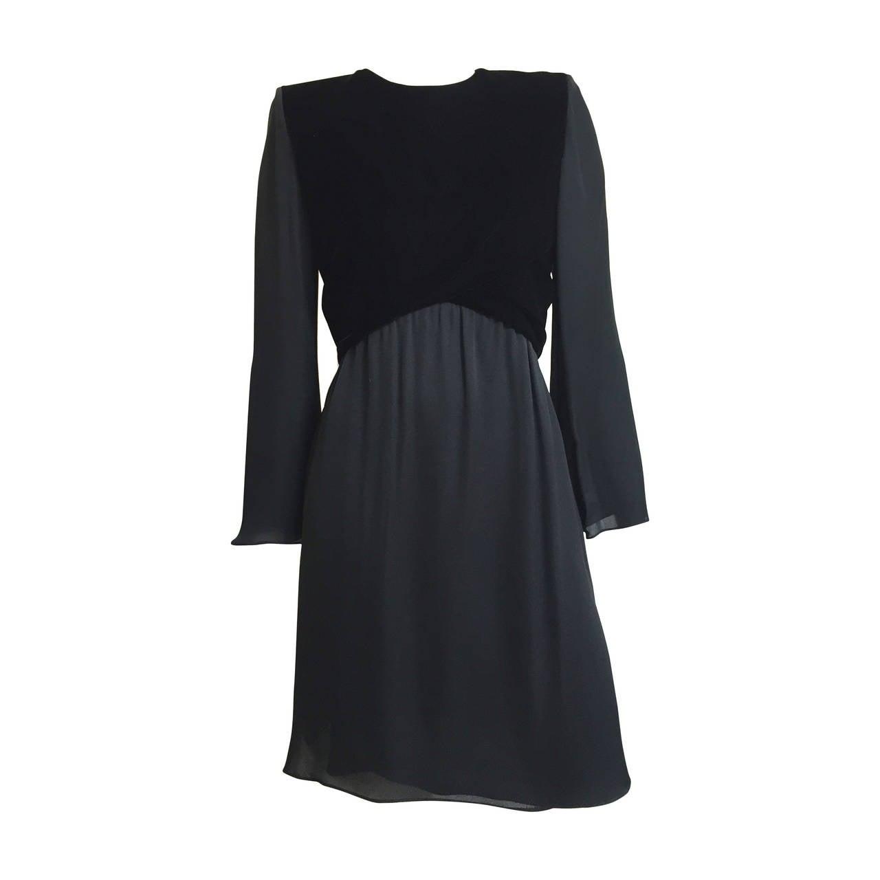 955a1c0d5661 Bill Blass 80s Black Chiffon and Velvet Evening Dress Size 6. For ...