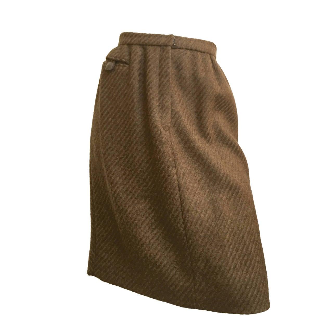 Carolina Herrera 90s Brown Wool Skirt Size 6.
