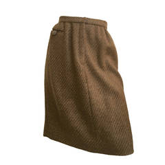 Carolina Herrera 90s Brown Wool Skirt Size 6.