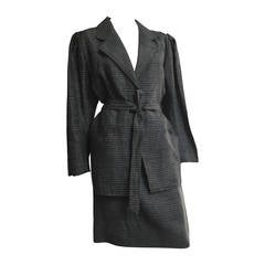Ungaro Linen Skirt Suit with Pockets and Belt Size 6