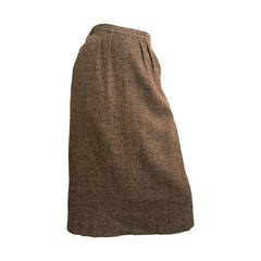 Yves Saint Laurent Brown Wool Skirt With Pockets size 12.