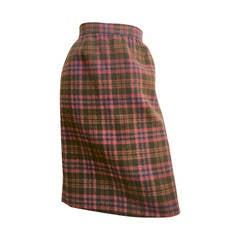 Bill Blass 1980s Plaid Wool Skirt Size 12.