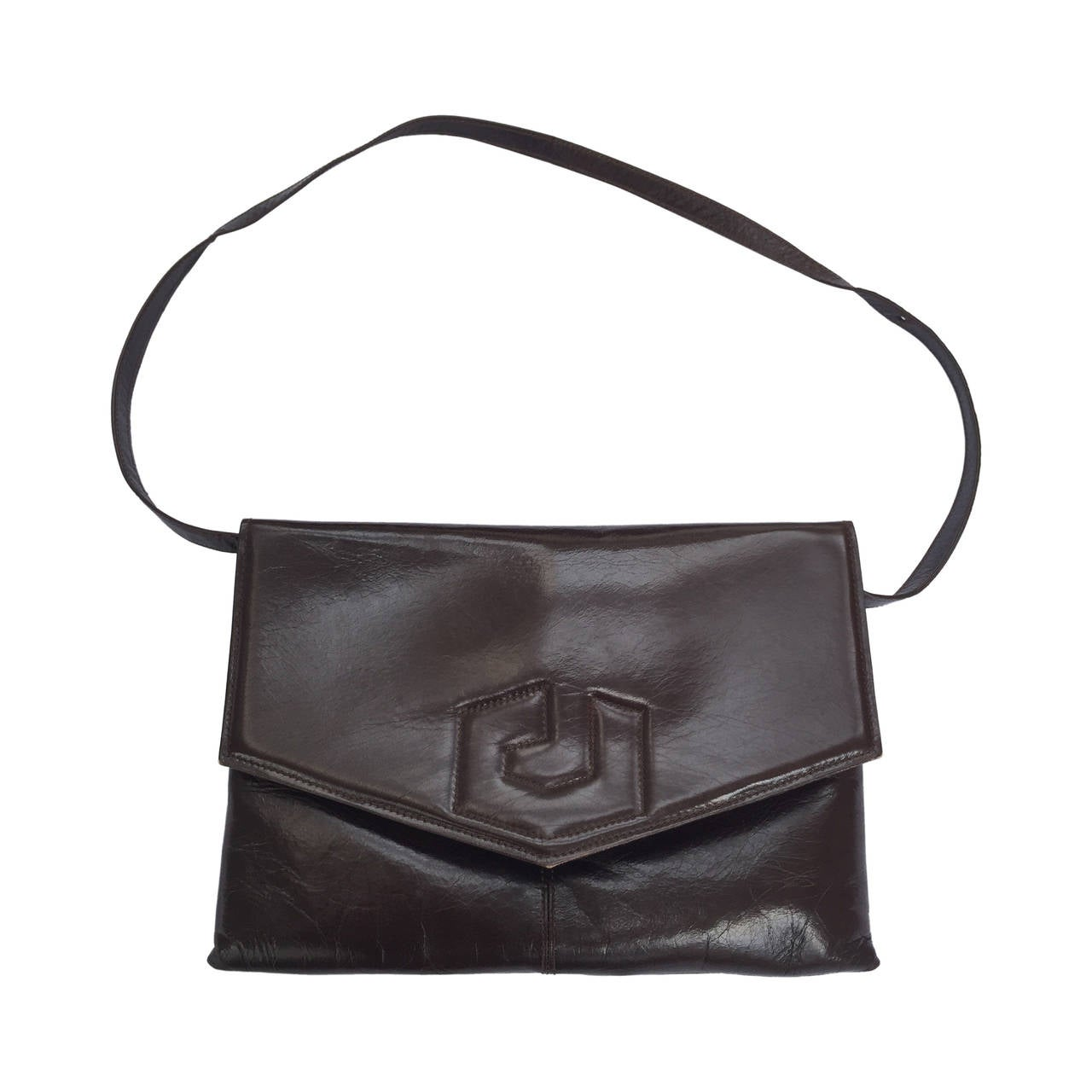 Charles Jourdan 70s brown leather shoulder / clutch handbag. For Sale