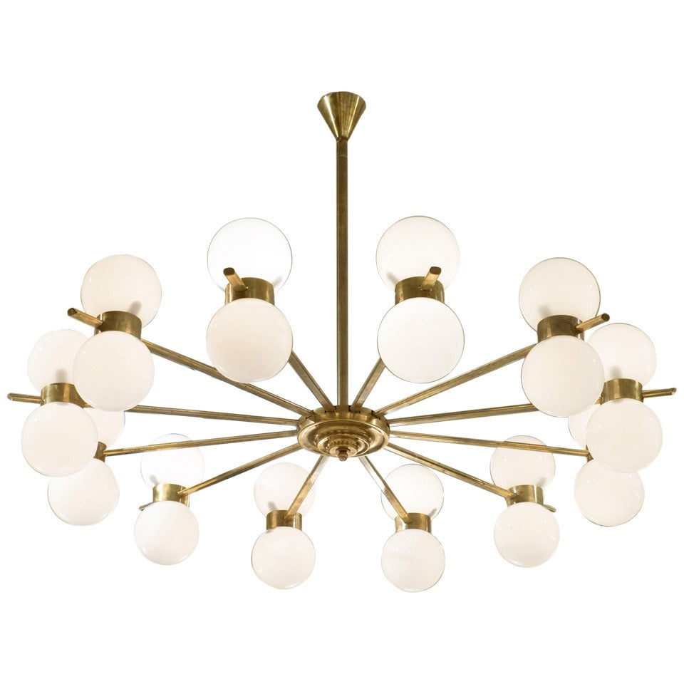 Vintage Twelve-Arm Chandelier in the Style of Stilnovo For Sale