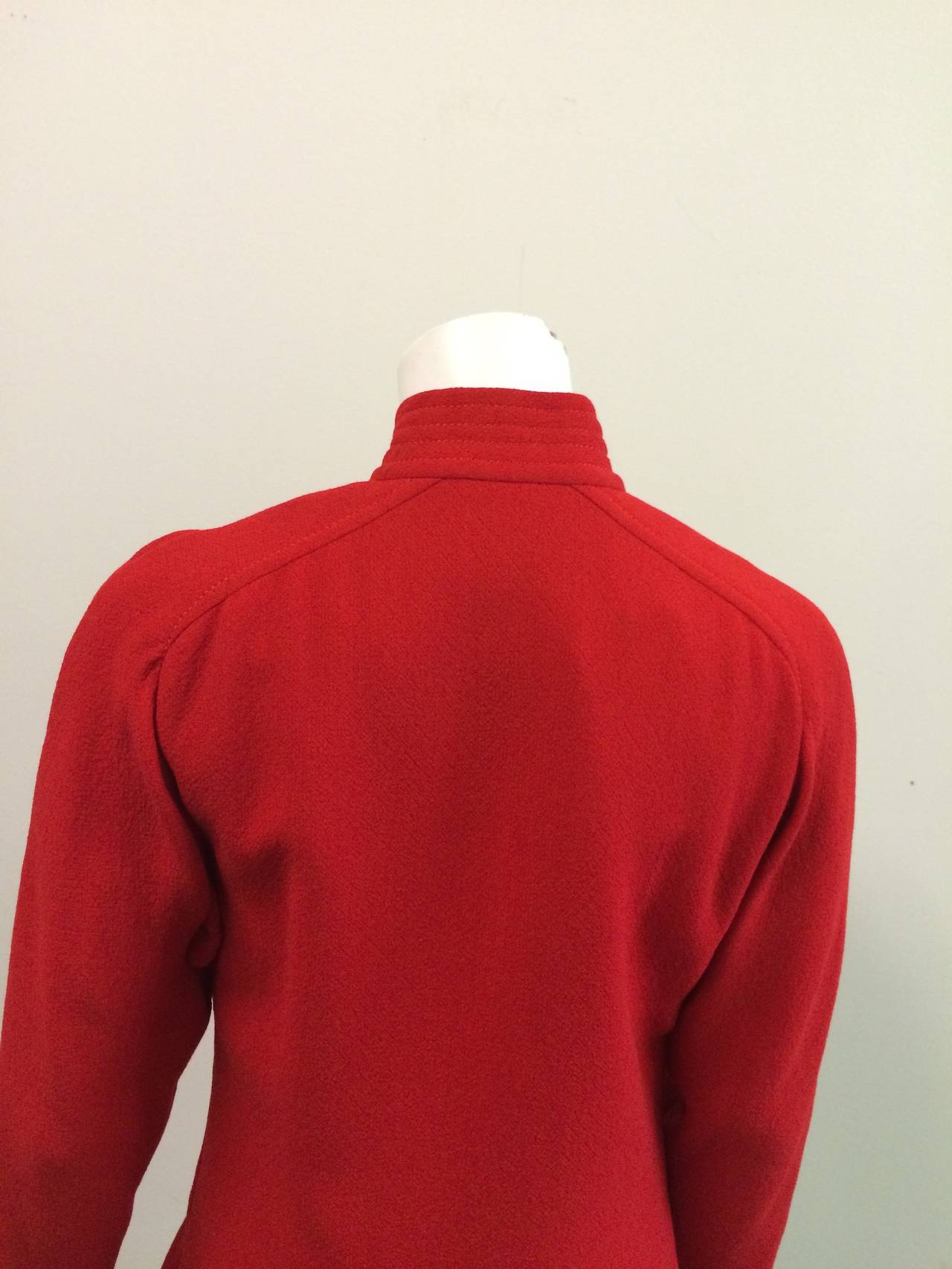 Galanos for Neiman Marcus Red Wool Dress Size 8. For Sale 3