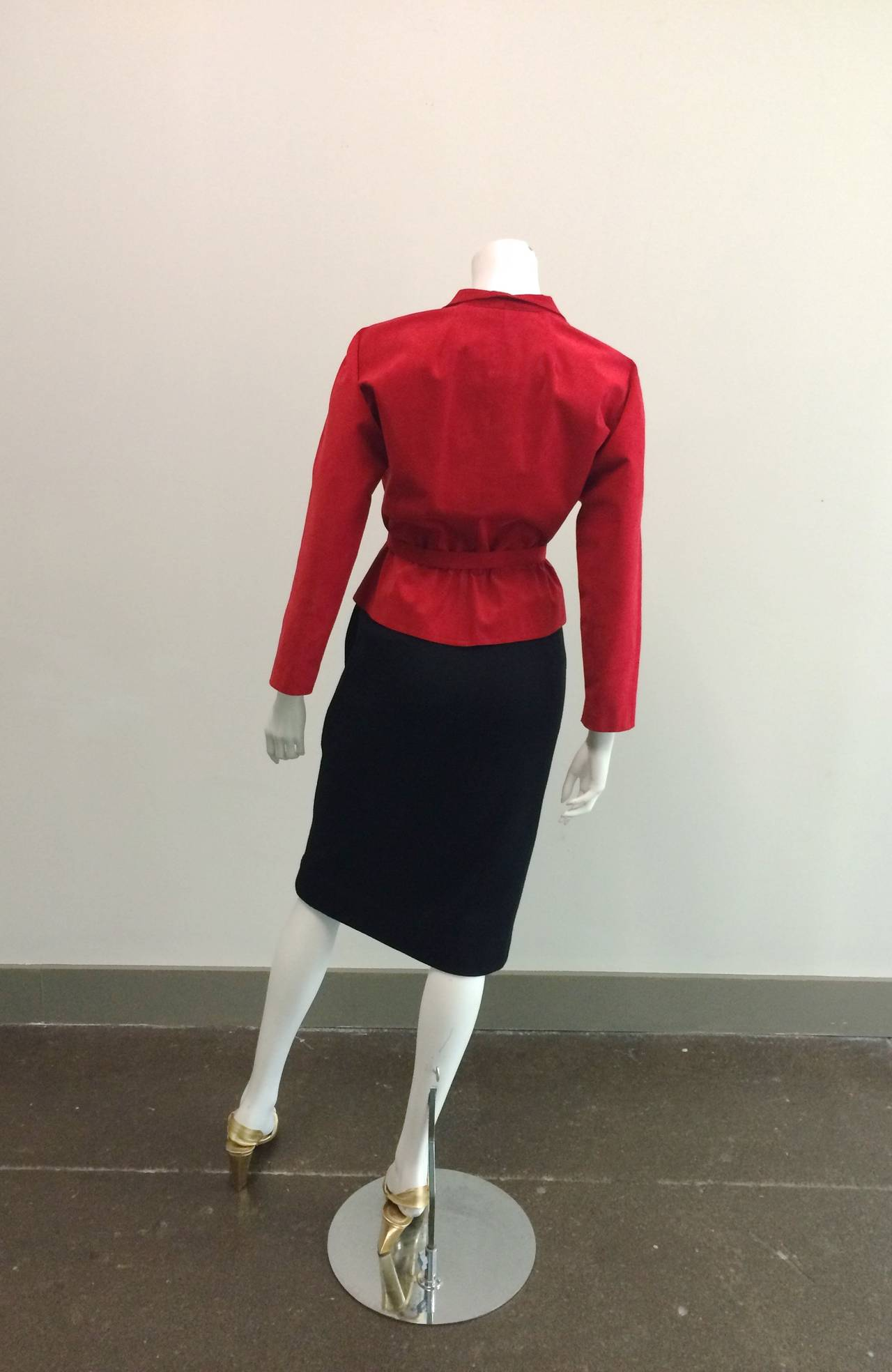 Halston 1970s Ultra Suede Red Jacket with Black Wool Skirt Size 4. 5