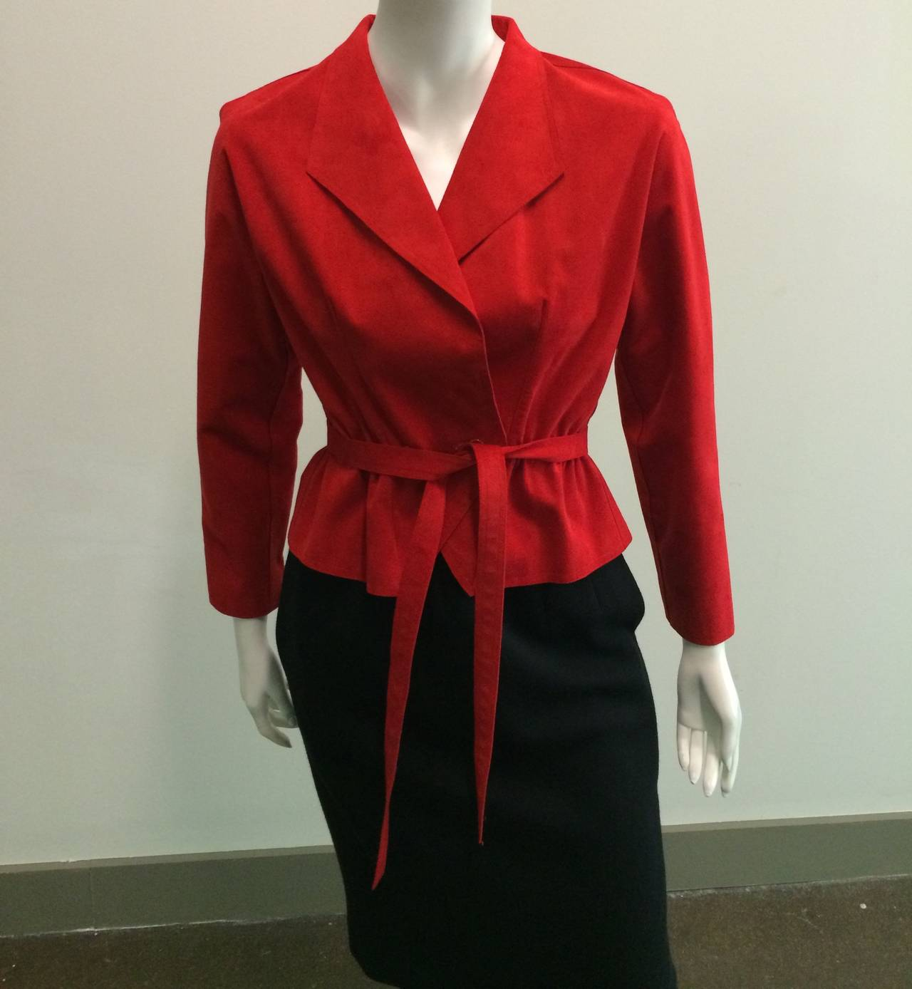 Halston 1970s Ultra Suede Red Jacket with Black Wool Skirt Size 4. 2