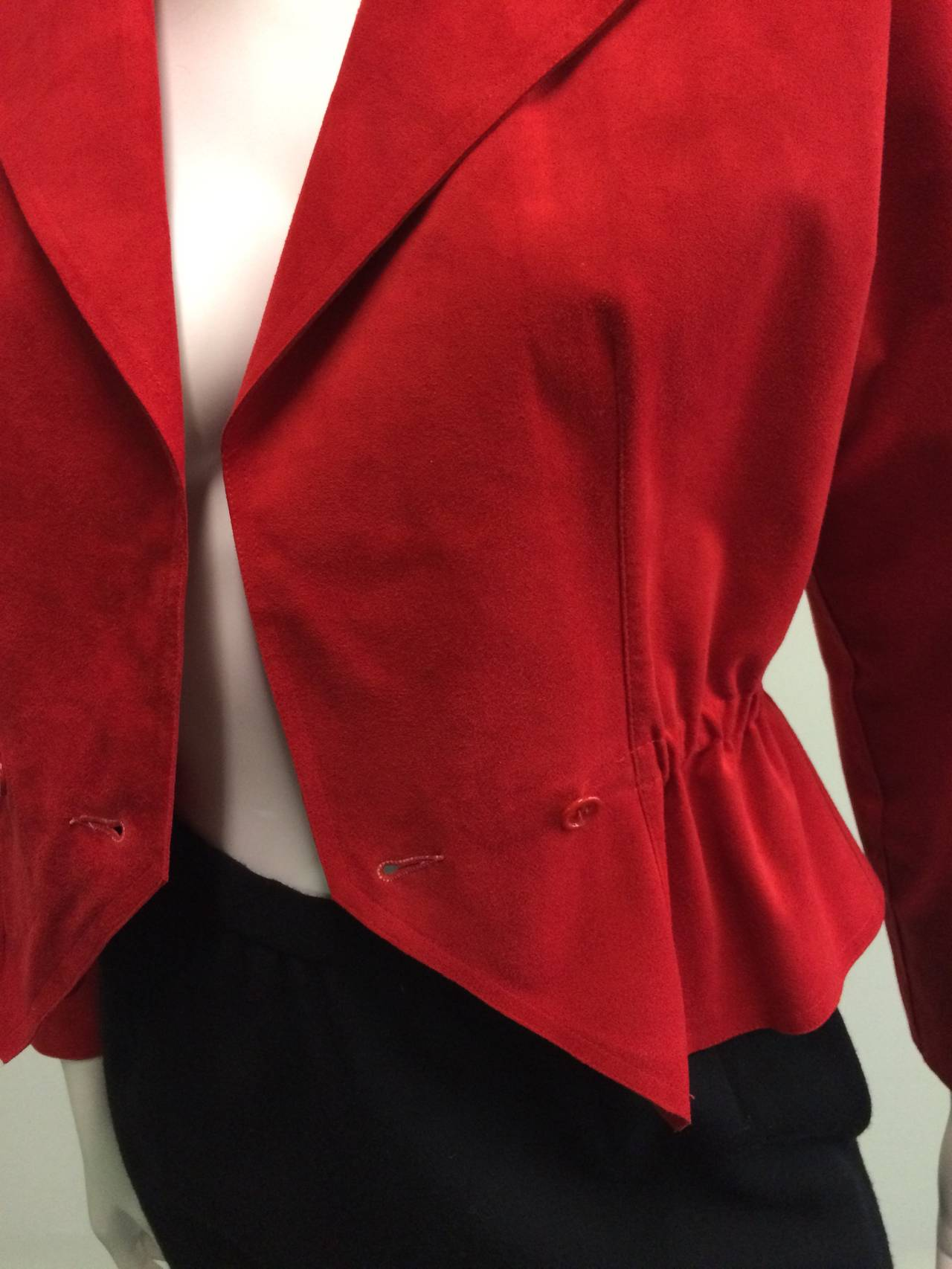 Halston 1970s Ultra Suede Red Jacket with Black Wool Skirt Size 4. 3
