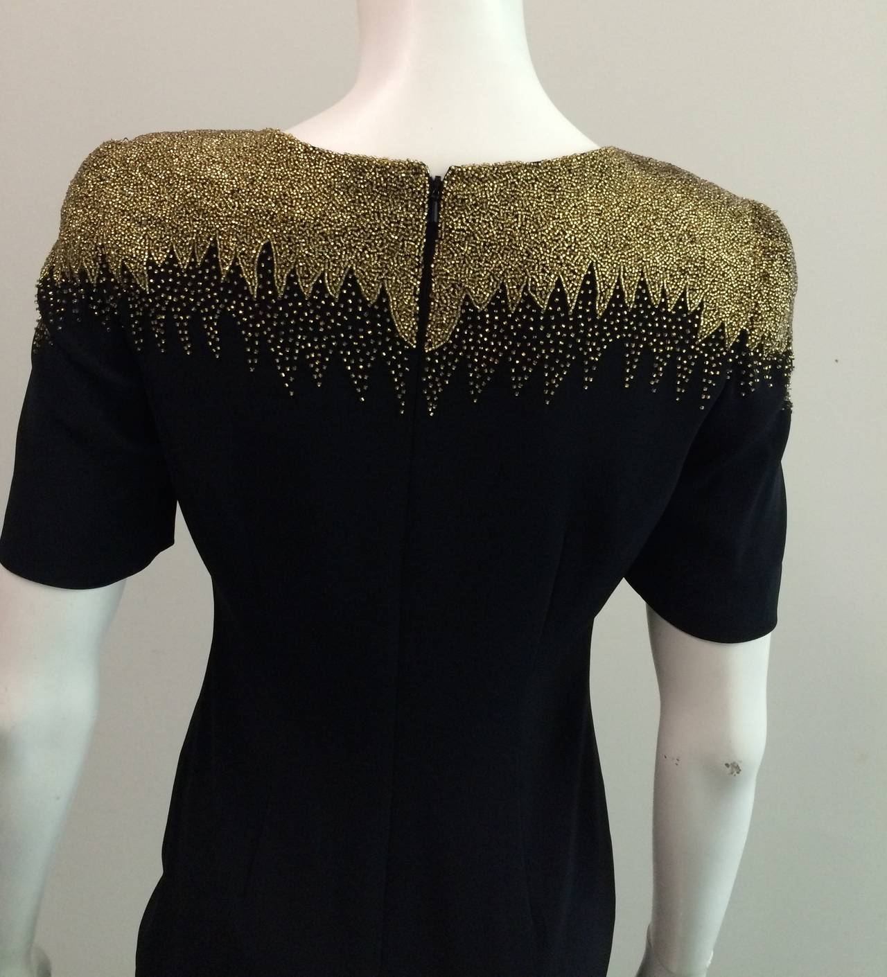 Oleg Cassini Black Tie for Bergdorf Goodman 80s beaded dress size 4. 7
