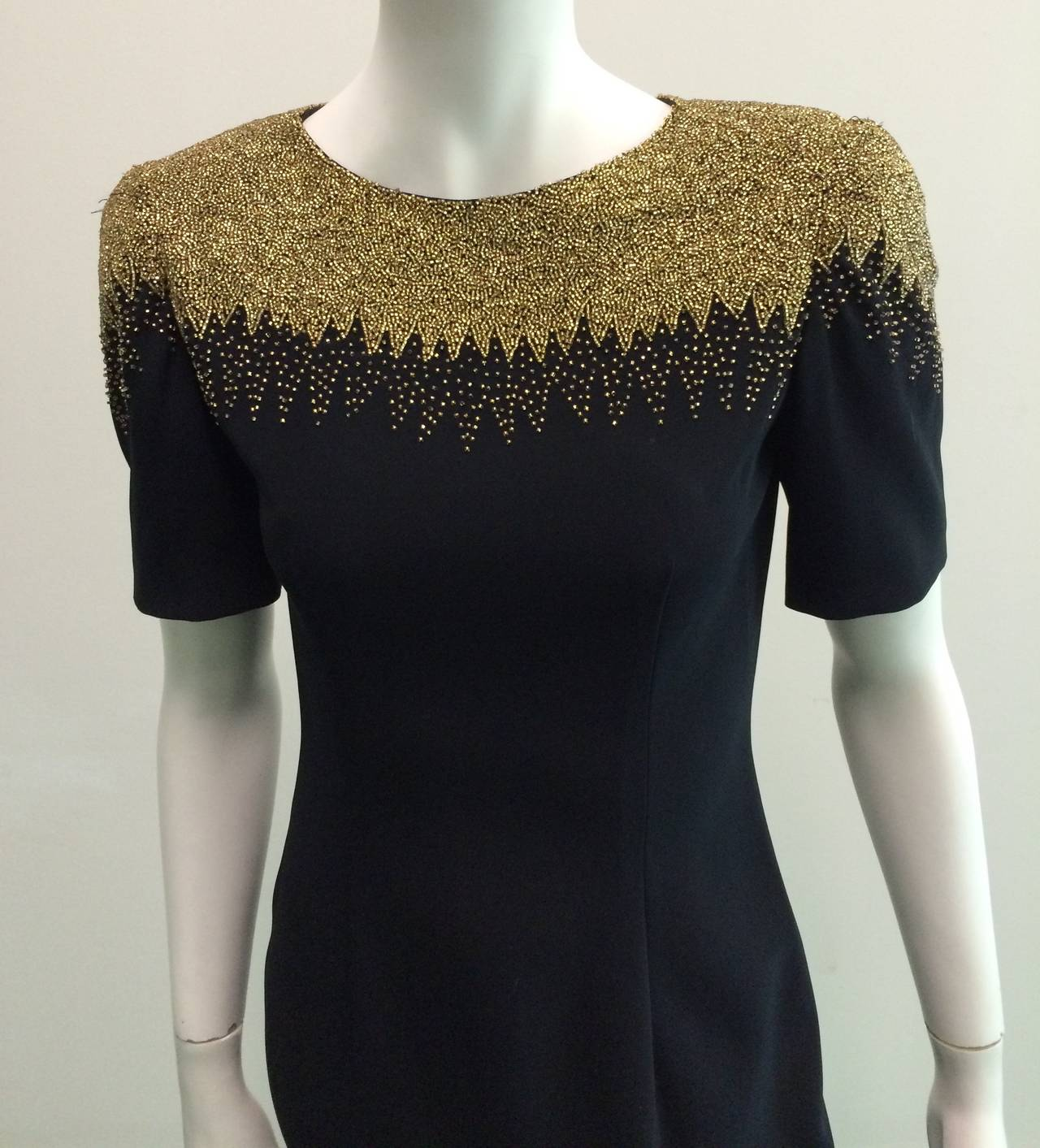 Oleg Cassini Black Tie for Bergdorf Goodman 80s beaded dress size 4. 2
