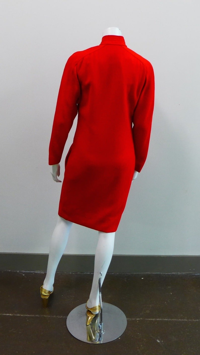 Galanos for Neiman Marcus Red Wool Dress Size 8. For Sale 2