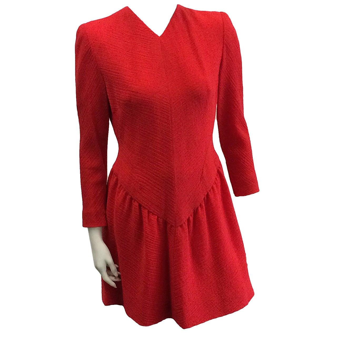 Pauline Trigere Wool Dress, 1980s