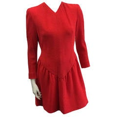 Pauline Trigere 80s Wool Dress Size 6.