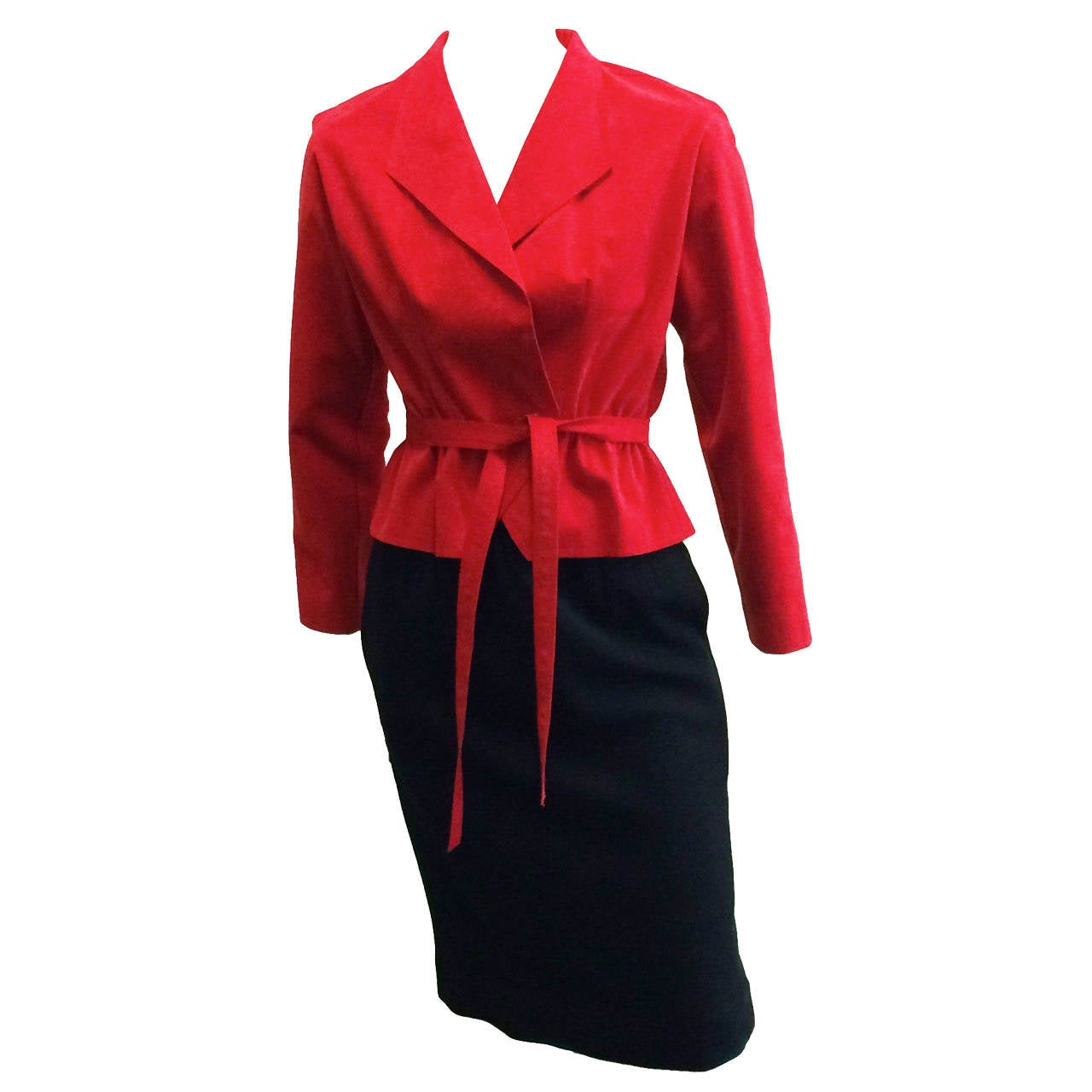 Halston 1970s Ultra Suede Red Jacket with Black Wool Skirt Size 4. 1