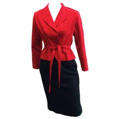 Halston 70s ultra suede red jacket with black wool skirt size 4.