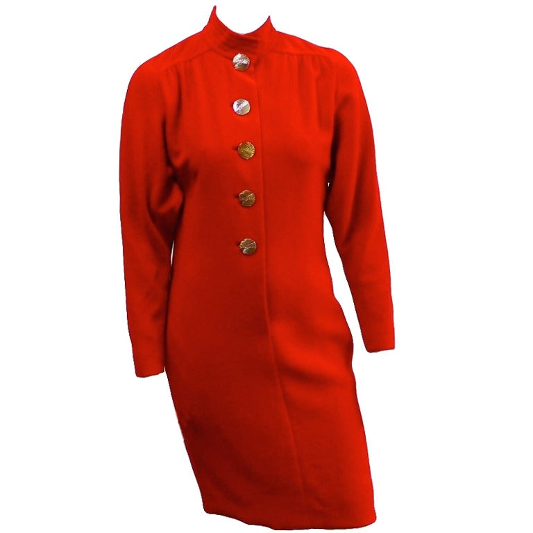 Galanos for Neiman Marcus Red Wool Dress Size 8. For Sale