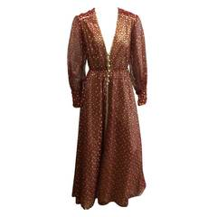 Norman Hartnell 60s Lace & Lame Gown Size 6.